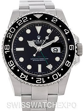 Rolex  Watches savings price: Rolex Mens Stainless Steel Gmt II Black Dial