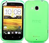 Gel Case Cover Shell And Screen Protector For HTC Desire C / Green