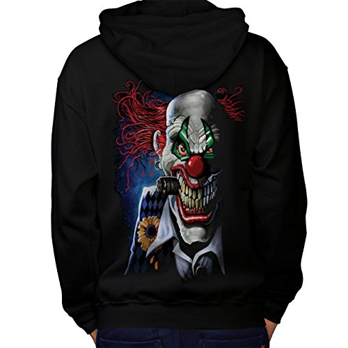 Joker Clown Mask Death Horror Men NEW Black L Hoodie Back | Wellcoda (The Supernatural Strange Cults compare prices)