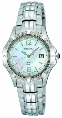 Seiko Womens SXDE19 Quartz Stainless Steel Mother-Of-Pearl Dial Watch