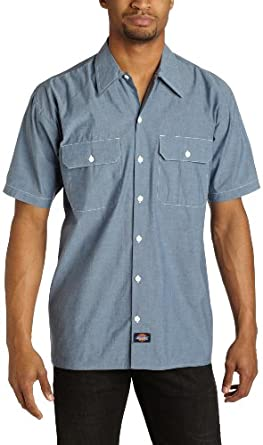 Dickies Men's Short Sleeve Chambray Shirt, Blue, Small