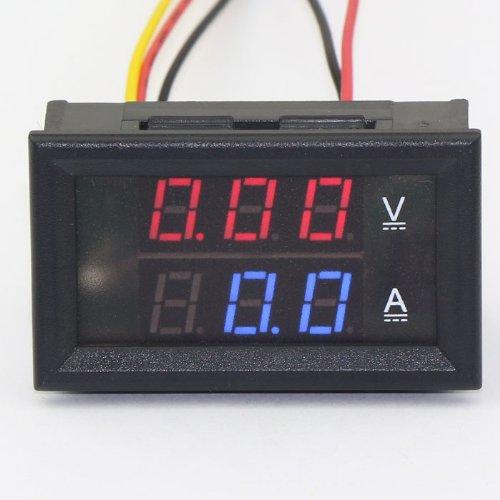 Kimdrox Dc Current 100V/50A Red/Blue 2-Color Led Tester Voltmeter Ammeter Digital Amp Volt Ampere Panel Meter