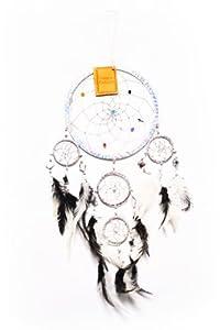 Großer 50cm x 16cm Traumfänger Fair Trade Dreamcatcher Spiegel Glitzer Traum Kinder Gute Träume Silber S1