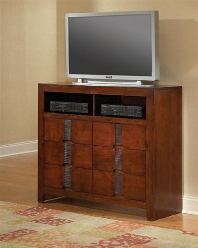 TV Dresser Stand with Bamboo Like Design in Cherry Finish