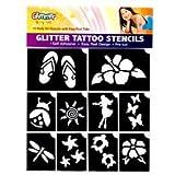 Party Glitter Tattoo Kit & Stencils Set