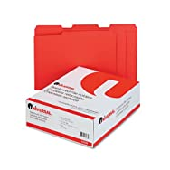 Colored File Folders, 1/3 Cut Assorted, Two-Ply Top Tab, Letter, Red, 100/Box