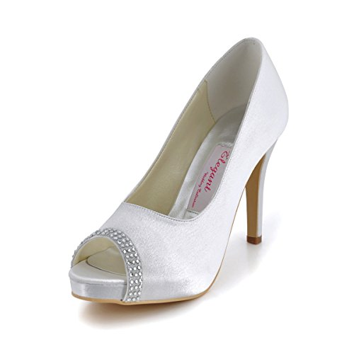 Topwedding Rhinestone Peep Toes Stiletto Platform Bridal Wedding Pump Shoes, White, 10