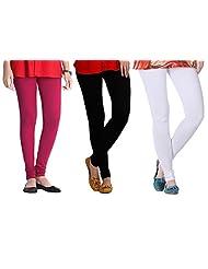 2Day Women's Cotton White/Red/Black Churidaar Legging (Pack Of 3)