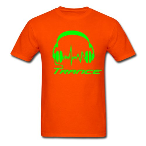Spreadshirt Men'S Trance Headphones T-Shirt, Orange, S