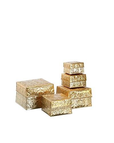 Oriental Set Caja de Almacenamiento 5 Uds. Aluminio Oro