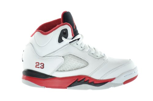 d01b9aeee825 Air Jordan 5 Retro PS Little Kids Basketball Shoes White Fire Red Black  440889 120 10