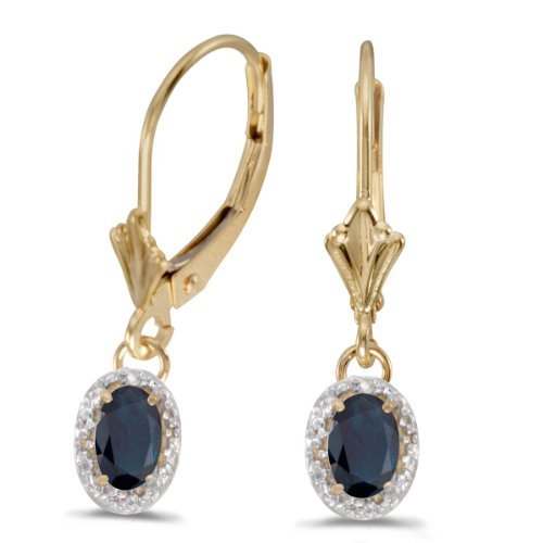 14k-Yellow-Gold-Oval-Sapphire-And-Diamond-Leverback-Earrings