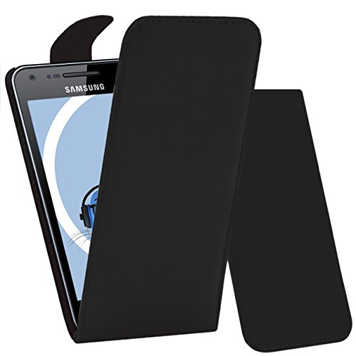 iTALKonline NERO FlipMatic Easy Clip On verticale flip cover Custodia con supporto per Samsung I9070 Galaxy S Advance