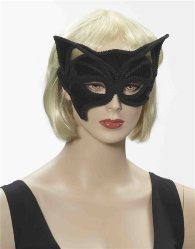 Deluxe Costume Black Velvet Venetian Carnival Cat Ears Mask