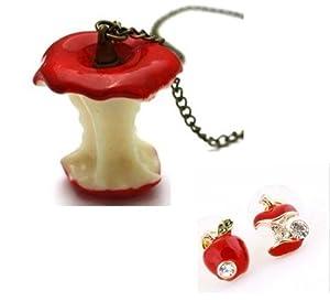 Parure Collier et Boucles d'oreilles Pomme Rouge