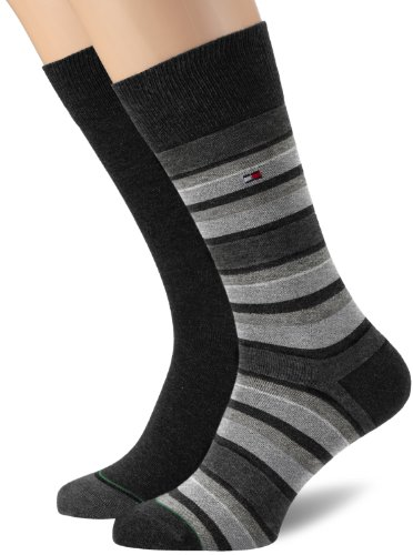 Tommy Hilfiger Th Men Variation Stripe Sock 2P - Calzini, uomo, Nero (Schwarz (Black)), 39/42