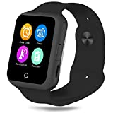 Padgene Fashion Bluetooth Camera SmartWatch With Heart Rate monitor, Noise Reduction, Sleep monitor, Pedometor, Automatic Wake-up and UV Intensity Test Function for Samsung Android Smartphones, Black