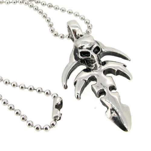 316L Stainless Steel Halloween Jewelry Round Ball Chain Necklace 2mm With Skull Cross Pendant 20''