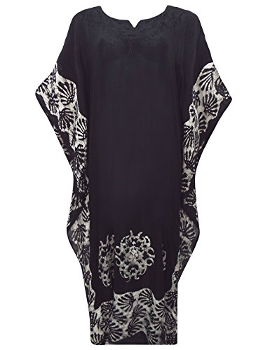 Black & Cream Batik Cotton Kaftan Dress to fit Size 16-18-20