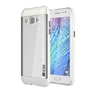 Crazy4Gadget Slicoo Brushed Texture Electroplating Transparenct TPU + PC Combination Case for Samsung Galaxy J2 / J200(White)