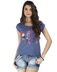 Chlorophile Women's Round Neck T-Shirt (Egy_Pacific Blue_6)