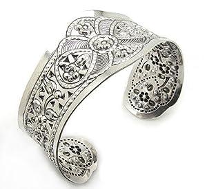 Wide Flower Design Embossed Sterling Silver Cuff Bracelet