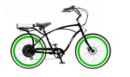 Pedego Black Comfort Cruiser Classic Electric Bike with Green Rims Whitewall Tires