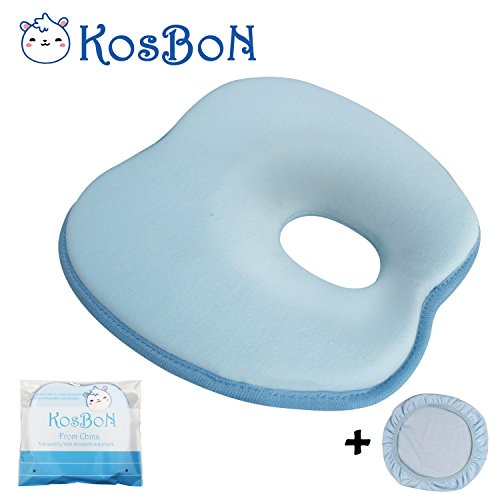 Sale!! KSB 9 Inches Blue Soft Memory Foam Baby Head Positioner Pillow,Prevent Flat Head For 3 Months- 1 Year Infant (Apple Shape,Contains Pillow Case)