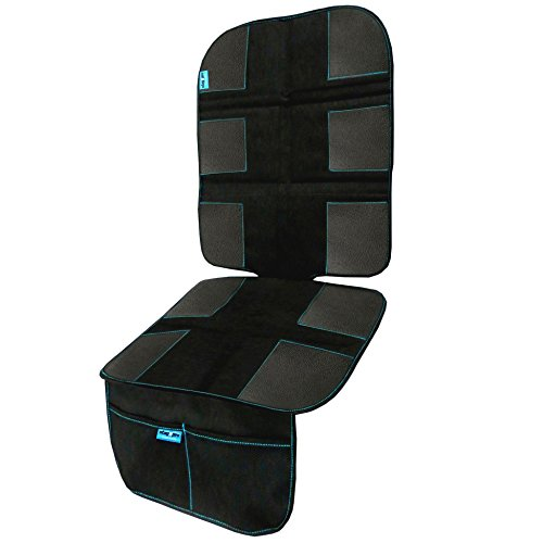 StayNpro-Premium-Car-Seat-ProtectorHeavy-Duty-Car-Seat-CoverAnti-Slip-DotsSturdy-Foam-PadsFront-Storage-MeshEasy-to-CleanUnique-child-Car-Seat-MatBlack-Blue-Duomat-for-Car-Seats