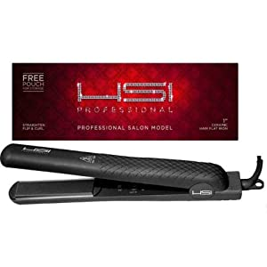 "HSI 1"" CERAMIC TOURMALINE IONIC FLAT IRON HAIR STRAIGHTENER FREE HEAT CASE & GLOVE. DUAL VOLTAGE 110/220 IDEAL FOR TRAVEL"