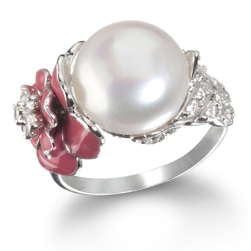 Fabulous Pearl and Peach Red Rose Enamel Ring