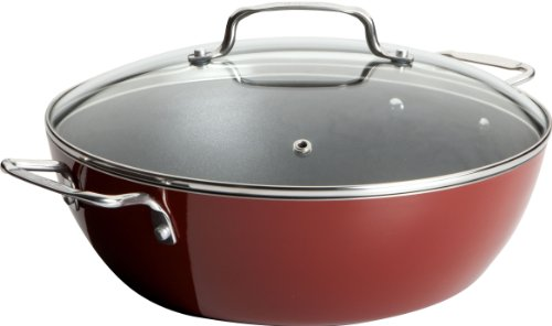 Ingrid Hoffman Simply Delicioso by T-fal C1075464 Nonstick Dishwasher Safe Hard Enamel 5.5-Quart Caldero with Glass Lid Cookware, Red