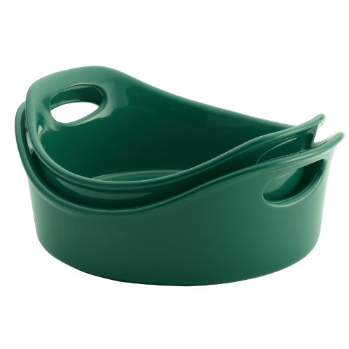 Rachael Ray Stoneware Round Open Bakers, 1 And 2-Quart, Dark Green