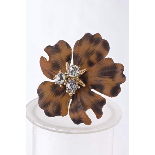 Brown Crystal Cluster Plastic Flower Ring