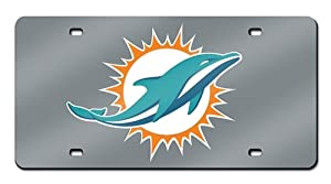 Miami Dolphins Laser Cut Silver License Plate by Hall of Fame Memorabilia