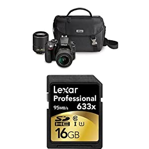 Nikon D3300 DX-format DSLR Kit w/ 18-55mm and 55-200mm Lenses + Accessories