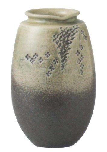 緑釉花彫壷長花瓶 信楽焼