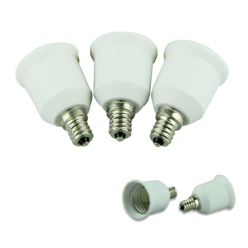 Voberry 3Pcs E12 To E26 / E27 Adapter - Converts Chandelier Socket (E12) To Medium Socket (E26/E27)