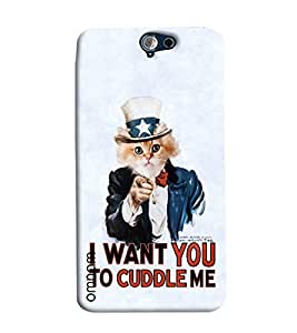Omnam Cat Saying I Want You To Cuddle Me Printed Designer Back Cover Case For HTC One A9