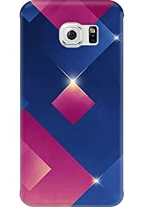 AMEZ designer printed 3d premium high quality back case cover for Samsung Galaxy S6 Edge (The 3D blue pink light-emitting body)