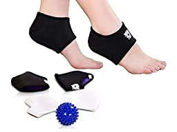 Bitly Comprehensive Plantar Fasciitis Kit-5 pieces Plantar Fasciitis Sleeve, Massage Ball, Foot Arch Support, Foot massager, Heel Pads, Ankle Brace, Relieve Foot Pain and Metatarsal Pain (Medium)