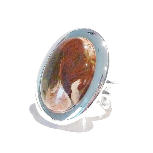 Large Brecciated Jasper Cabochon & Silver Ring - Adjustable 33 x 25mm