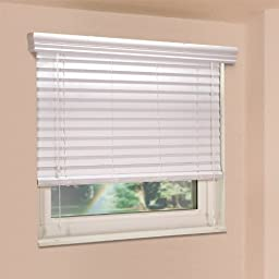 Fauxwood Impressions 48003500 35-Inch by 48-Inch Window Blinds, White