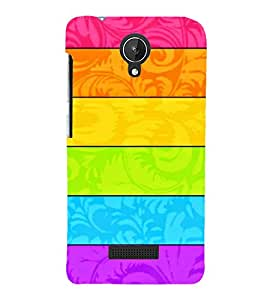 MULTICOLOURED HORIZONTAL LINES PATTERN 3D Hard Polycarbonate Designer Back Case Cover for Micromax Canvas Spark Q380