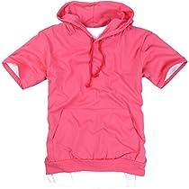 ililily Canvas short sleeve pullover hooded cotton lightweight sweatshirt for Men (hoodies-002-9-M)