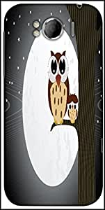 Snoogg Owl Sit On Branch With Baby Owl Designer Protective Back Case Cover For HTC Sensation Xl
