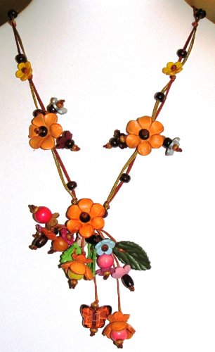 Flower Necklace - All Hand Worked Leather - Orange - Adjustable Size