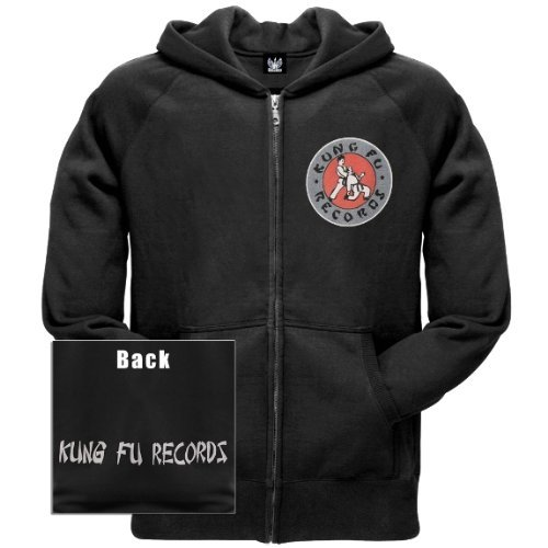 Old Glory Mens Kung Fu Records - Logo Zip Hoodie - Youth Large Black