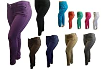 NEW 1826 Twill Pants High Waist Womens Plus Size Skinny Leg Size 14-16-18-20-22 98% Cotton 2% Spandex (18, FUCHSIA)