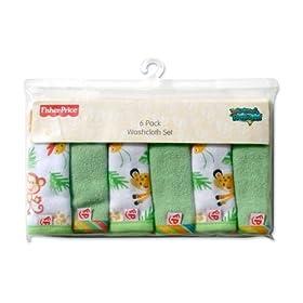 Fisher Price Rainforest Washcloth Set 6-Pack